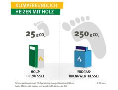Holzheizkessel klimafreundlicher als Gasbrennwert